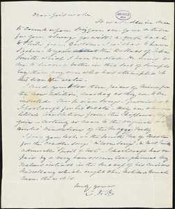 Charles Fenno Hoffman autograph letter signed to R. W. Griswold, [1845?]