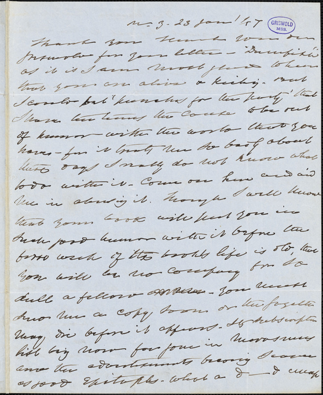 Charles Fenno Hoffman, New York, autograph letter signed to R. W. Griswold, 23 January 1847