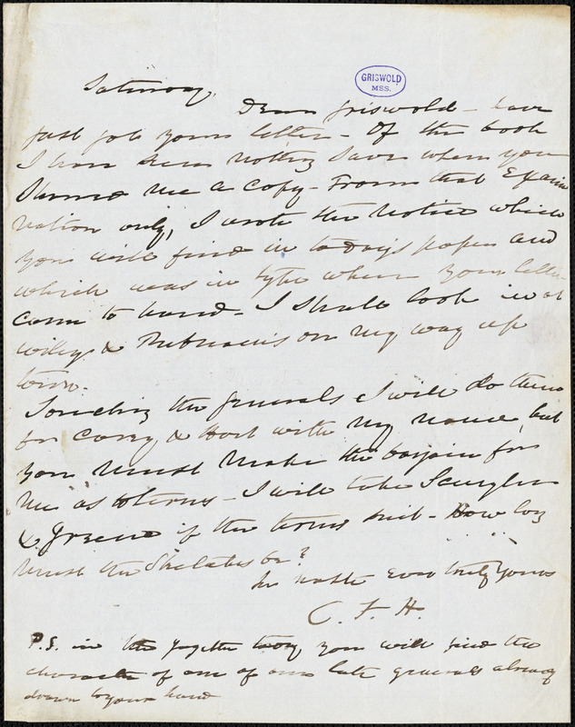 Charles Fenno Hoffman, New York, autograph letter signed to R. W. Griswold, [24 July 1847?]