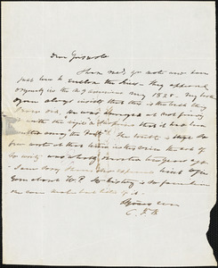 Charles Fenno Hoffman, New York, autograph letter signed to R. W. Griswold, [11 March]