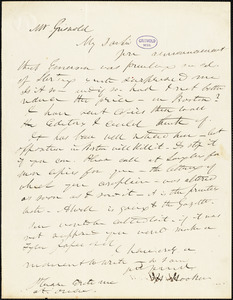 Herman Hooker autograph letter signed to R. W. Griswold, [1842?]