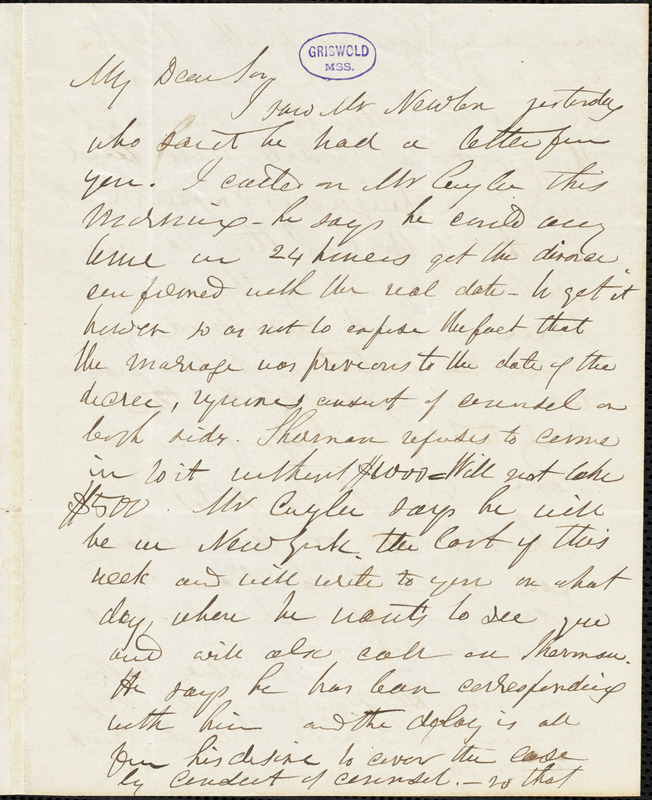 Herman Hooker, Philadelphia, PA., autograph letter signed to R. W. Griswold, 29 April 1846