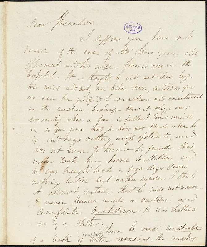 Herman Hooker autograph letter signed to R. W. Griswold, 19 August 1851