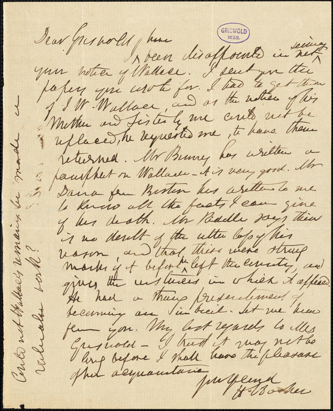 Herman Hooker autograph letter signed to R. W. Griswold, [1853?]