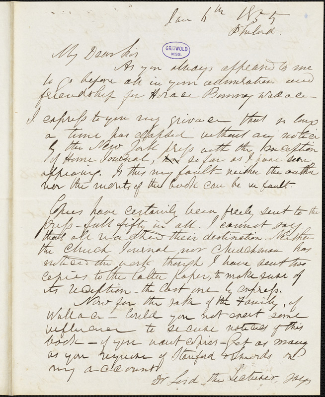 Herman Hooker, Philadelphia, PA., autograph letter signed to R. W. Griswold, 6 January 1855
