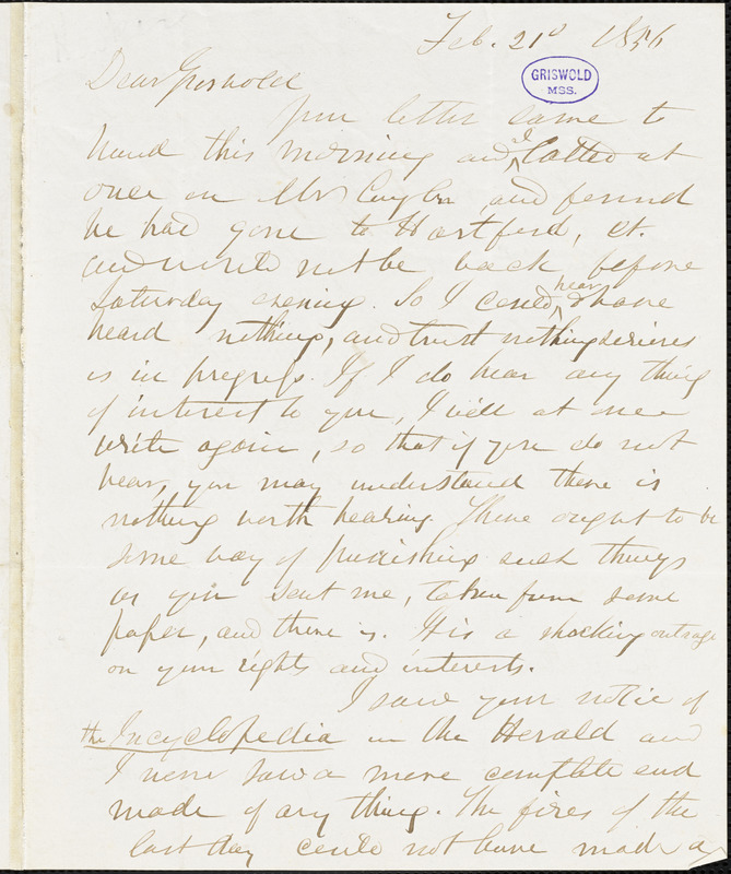 Herman Hooker autograph letter signed to R. W. Griswold, 21 February 1856
