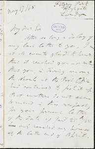 Richard Henry (Hengist) Horne, London, Eng., autograph letter signed to Edgar Allan Poe, 17 May 1845