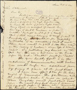 William Henry Cuyler Hosmer, Avon, NY., autograph letter signed to R. W. Griswold, 18 October 1843