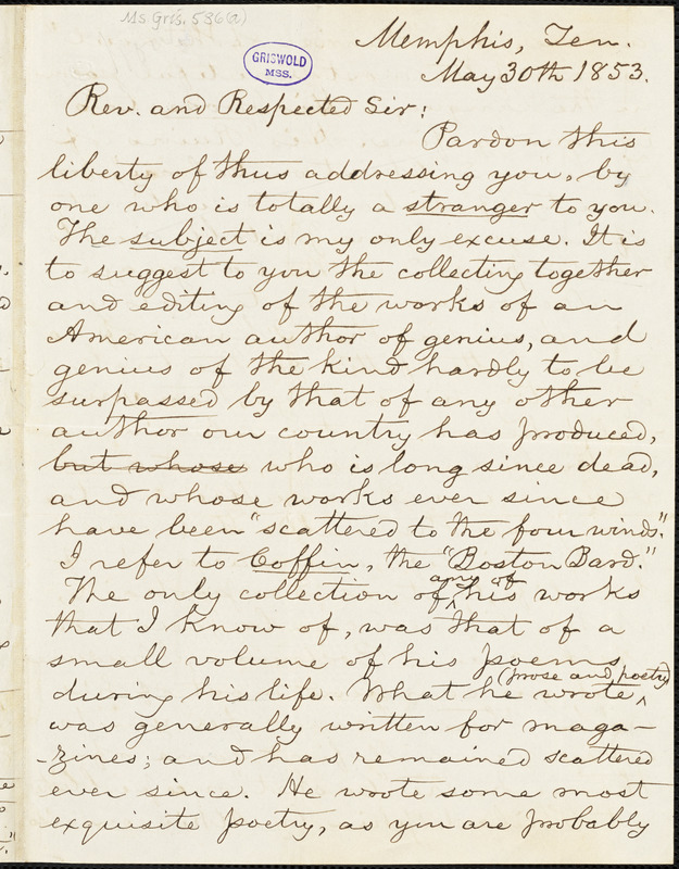 John R. Howard, Memphis, TN., autograph letter signed to [R. W. Griswold?], 30 May 1853