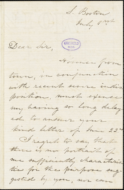 Julia (Ward) Howe, South Boston, MA., autograph letter signed to R. W. Griswold, 1 July