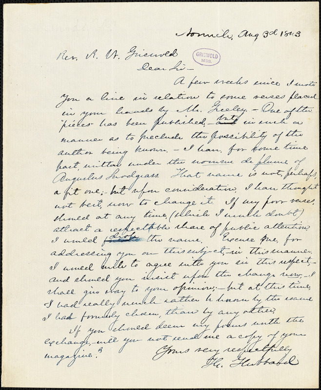 Th. Hubbard, Norwich., autograph letter signed to R. W. Griswold, 3 August 1843