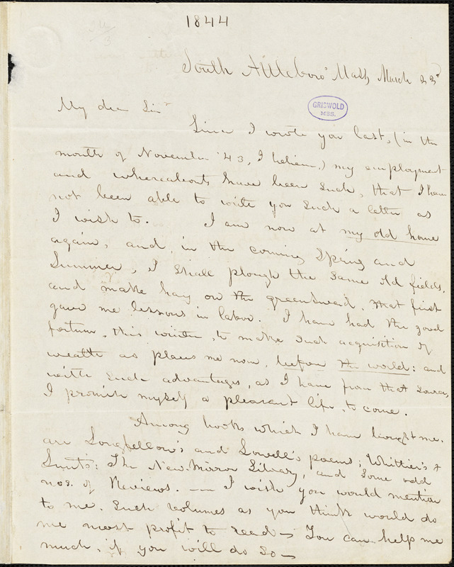 Abijah M. Ide Jr., South Attleborough, MA., autograph letter signed to Edgar Allan Poe, 23 March [1844]