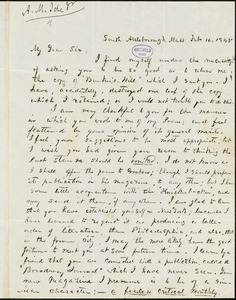 Abijah M. Ide Jr., South Attleborough, MA., autograph letter signed to Edgar Allan Poe, 16 February 1845