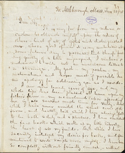 Abijah M. Ide Jr., South Attleborough, MA., autograph letter signed to Edgar Allan Poe, 20 June 1845
