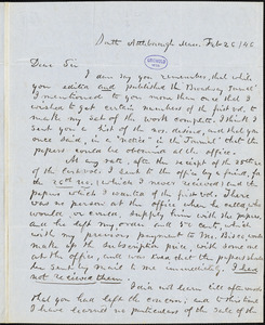 Abijah M. Ide Jr., South Attleborough, MA., autograph letter signed to Edgar Allan Poe, 26 February 1846
