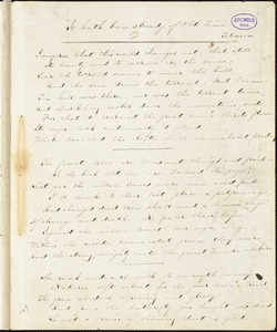 "Sarah Sprague Jacobs manuscript poems: ""I mourn that this world changes not...,"" ""Ubi Amor, ibi Fides,"" ""A Lamentation,"" ""A Vesper,"" ""Listen, what sounds are these...,"" ""Girl-Dreams,"" ""A fountain in a crowded street...,"" ""Benedetta"""