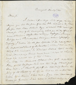 John Jay, New York, autograph letter signed to R. W. Griswold, 29 December 1841