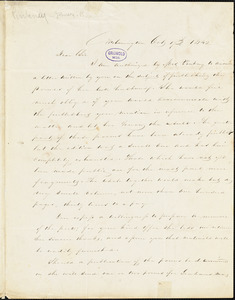 P. S. Johnson, Wilmington., autograph letter signed to R. W. Griswold, 17 October 1842