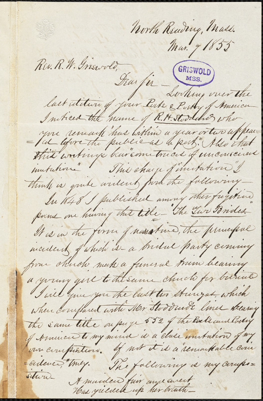 T. N. Jones, North Reading, MA., autograph letter signed to R. W. Griswold, 7 March 1855