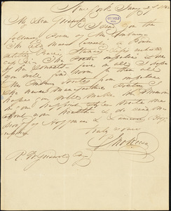 John Keese, New York, autograph letter signed to R. W. Griswold, 27 January 1842