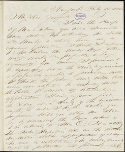 John Keese, New York, autograph letter signed to R. W. Griswold, 15 February 1842