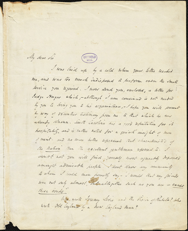 John Pendleton Kennedy, Baltimore, MD., autograph letter signed to R. W. Griswold, 6 January 1846