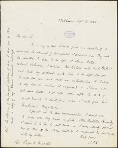 John Pendleton Kennedy, Baltimore, MD., autograph letter signed to R. W. Griswold, 23 September 1846