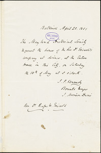 John Pendleton Kennedy, Baltimore, MD., autograph letter signed to R. W. Griswold, 25 April 1851