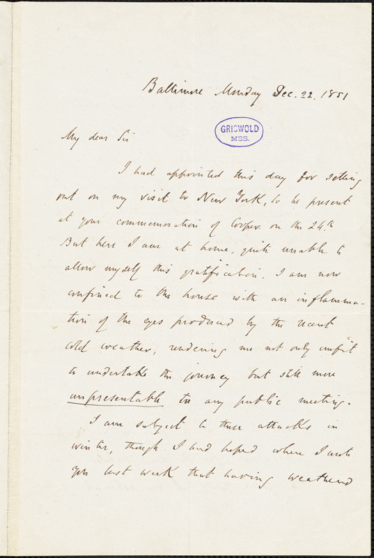 John Pendleton Kennedy, Baltimore, MD., autograph letter signed to R. W. Griswold, 22 December 1851