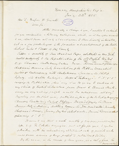 Andrew W. Kercheval, Romney, Hampshire Co., VA., autograph letter signed to R. W. Griswold, 22 January 1855