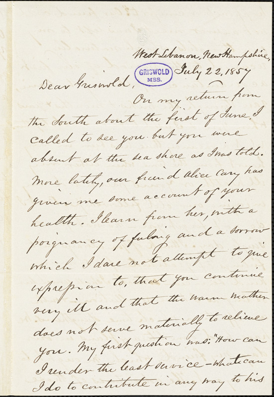 Richard Burleigh Kimball, West Lebanon, NH., autograph letter signed to R. W. Griswold, 22 July 1857