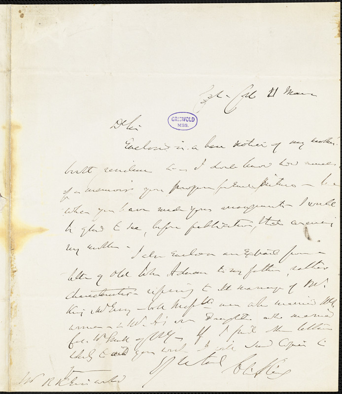 Charles King, Col[umbia] Coll[ege]., autograph letter signed to R. W. Griswold, 11 March [?]