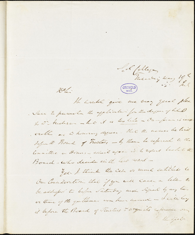 Charles King, Col[umbia] College., autograph letter signed to R. W. Griswold, 19 May