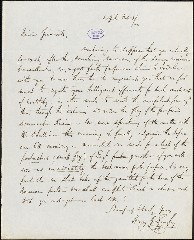 Henry G. Langley, New York, autograph letter to R. W. Griswold, 3 February 1844