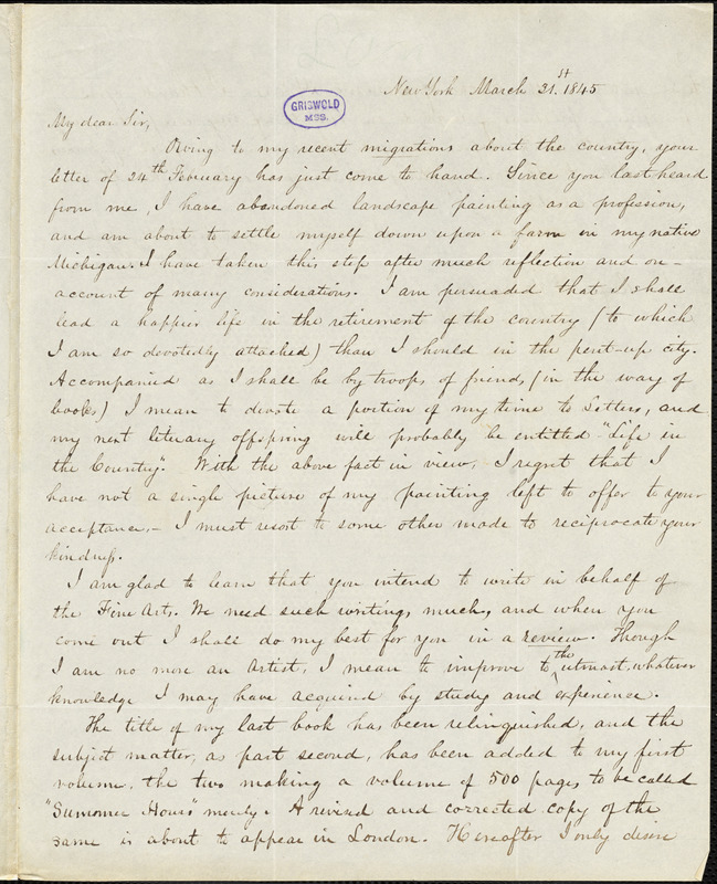 Charles Lanman, New York, autograph letter signed to R. W. Griswold, 31 March 1845