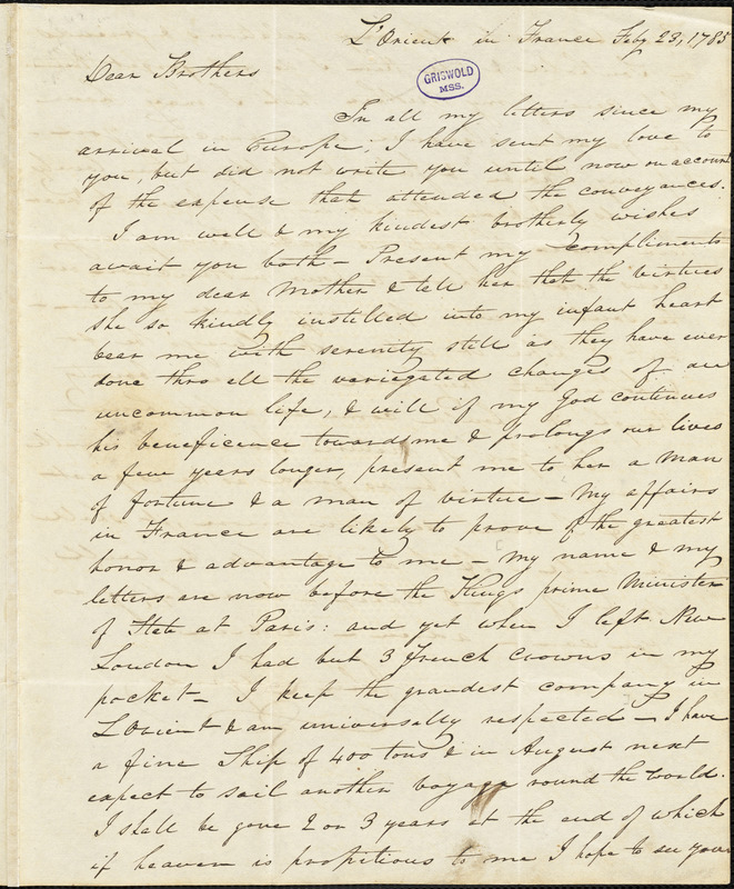 John Ledyard, L'Orient, France., autograph letter signed to Thomas and George Ledyard, 23 February 1785