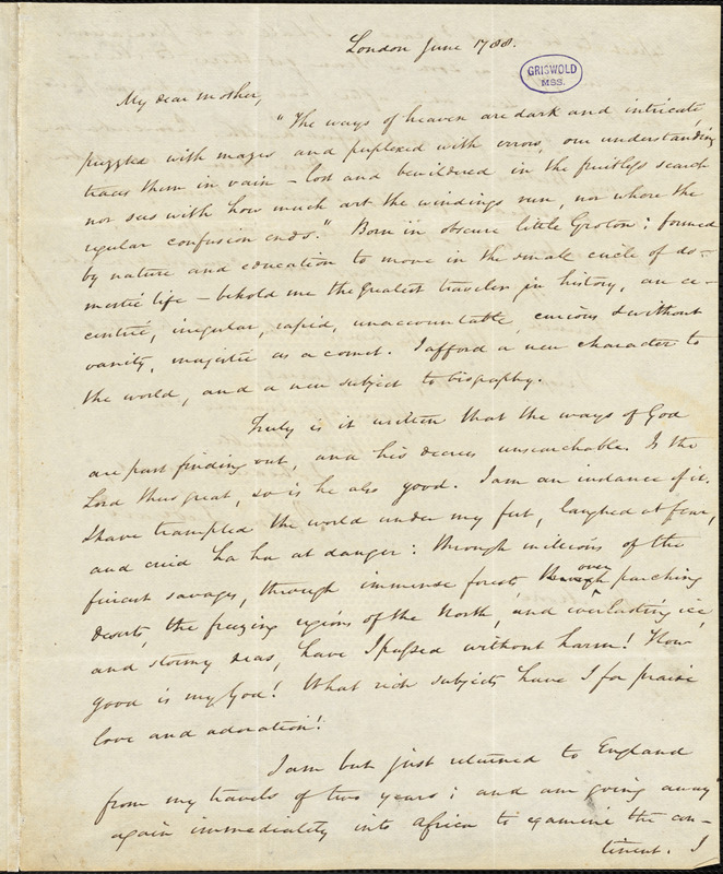 John Ledyard, London, Eng., manuscript copy of letter to Abigail Moore, June 1788