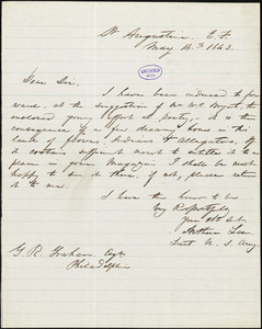 Arthur [Tracy?] Lee, St. Augustine, E.F. (FL.), autograph letter signed to George Rex Graham, 14 May 1843
