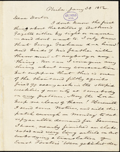 Charles Godfrey Leland, Philadelphia, PA., autograph letter signed to [R. W. Griswold], 30 January 1852