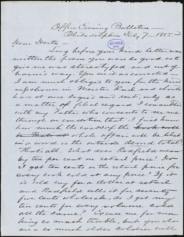 Charles Godfrey Leland, Office Evening Bulletin. Philadelphia, PA., autograph letter signed to [R. W. Griswold], 7 July 1855
