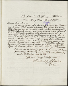 Charles Godfrey Leland, Bulletin Office., Philadelphia, PA., autograph letter signed to [R. W. Griswold], 12 November 1855