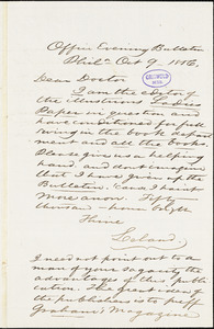 Charles Godfrey Leland, Office Evening Bulletin. Philadelphia, autograph letter signed to [R. W. Griswold], 9 October 1856