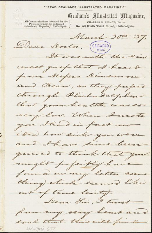 Charles Godfrey Leland autograph letter signed to [R. W. Griswold], 30 March 1857