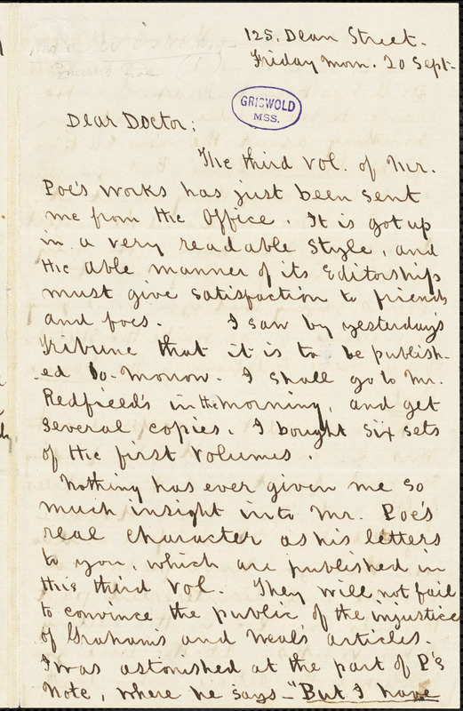 Estelle Anna Blanche (Robinson) Lewis, 125 Dean St., autograph letter signed to [R. W. Griswold], 20 September [1850]