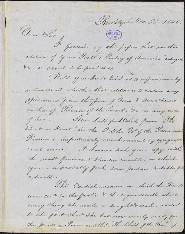 Sylvanus D. Lewis, Brooklyn, NY., autograph letter signed to [R. W. Griswold], 2 November 1846