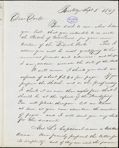 Sylvanus D. Lewis, Brooklyn, NY., autograph letter signed to R. W. Griswold, 3 September 1849