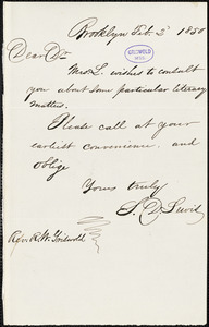 Sylvanus D. Lewis, Brooklyn, NY., autograph letter signed to R. W. Griswold, 2 February 1850