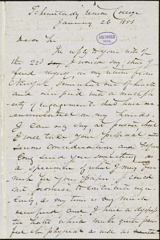 Tayler Lewis, Schenectady, NY., autograph letter signed to R. W. Griswold, 26 January 1853