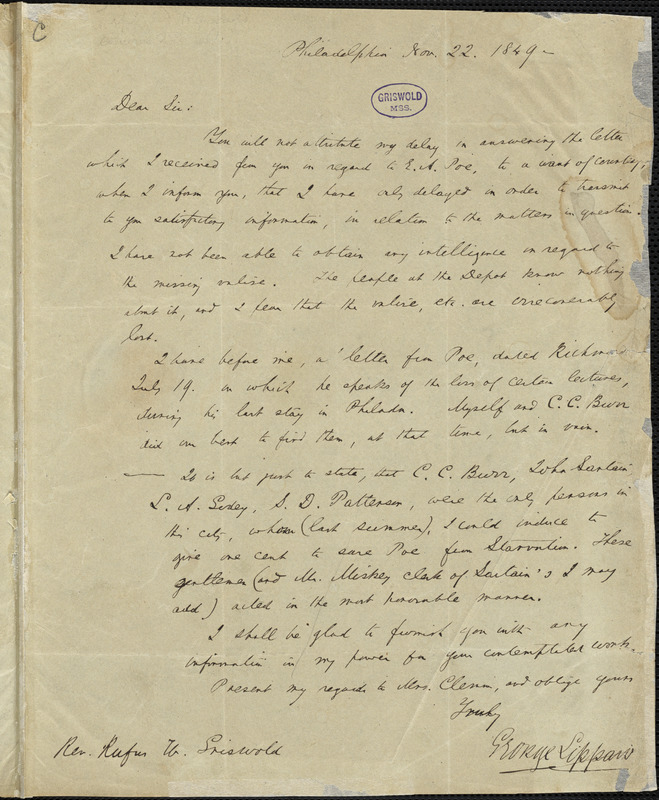 George Lippard, Philadelphia, autograph letter signed to R. W. Griswold, 22 November 1849