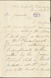 Sarah Jane (Clarke) Lippincott, (Grace Greenwood, pseudonym), 386 Arch St. Philadelphia, autograph letter signed to R. W. Griswold, 24 May 1855